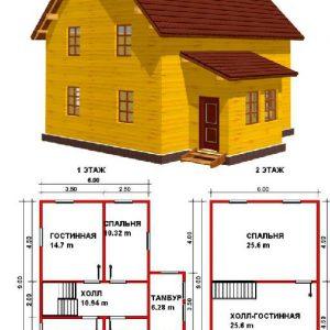 Каркасный дом 6x9 108кв.м