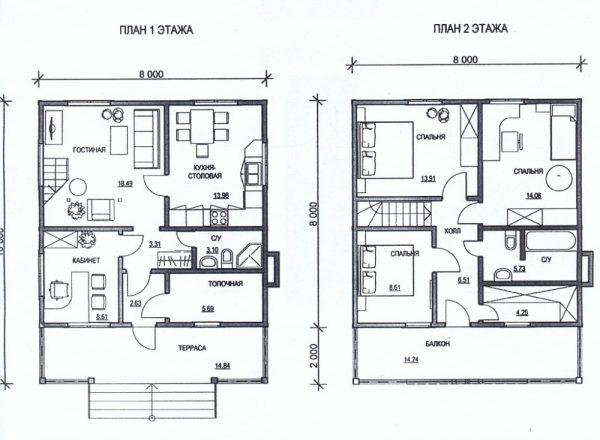 Каркасный дом 8x10 126кв.м