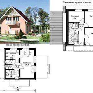 Каркасный дом 8x8 120кв.м с мансардой