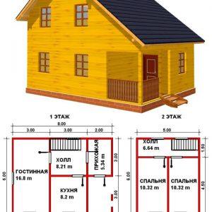 Каркасный дом 6x8 96кв.м
