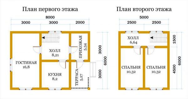 Каркасный дом 6x8 78кв.м