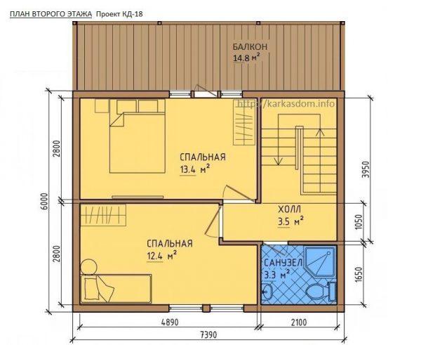 Каркасный дом 6x7.5 72кв.м