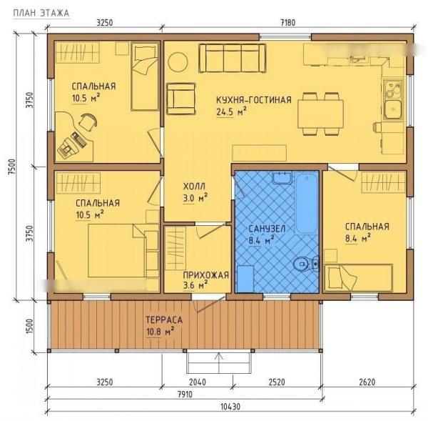 Каркасный дом 8×10 80кв.м