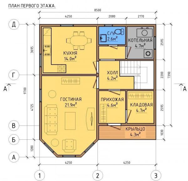 Каркасный дом 8x9 144кв.м