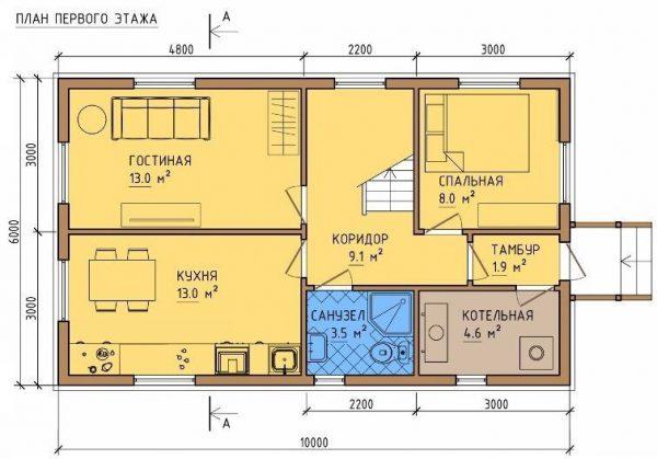Каркасный дом 6x9 110кв.м