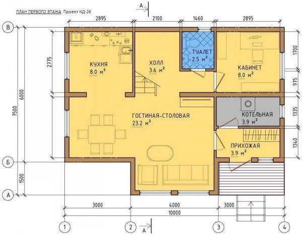 Каркасный дом 10x7 + терраса 40м2