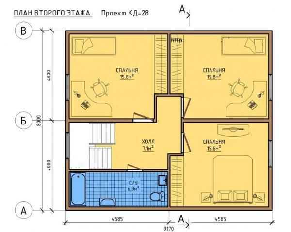 Каркасный дом 8x9 140кв.м