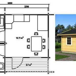 Каркасный дом 6x4 24кв.м