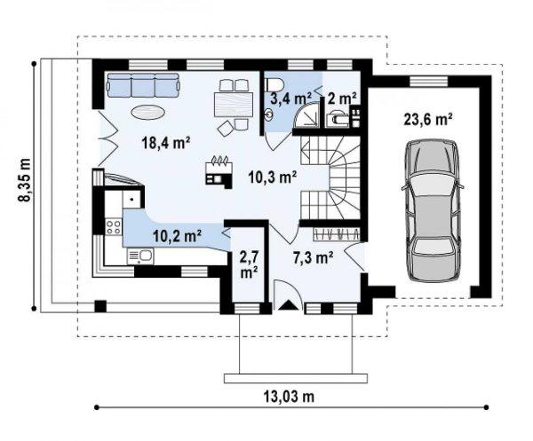 Каркасный дом 8х13