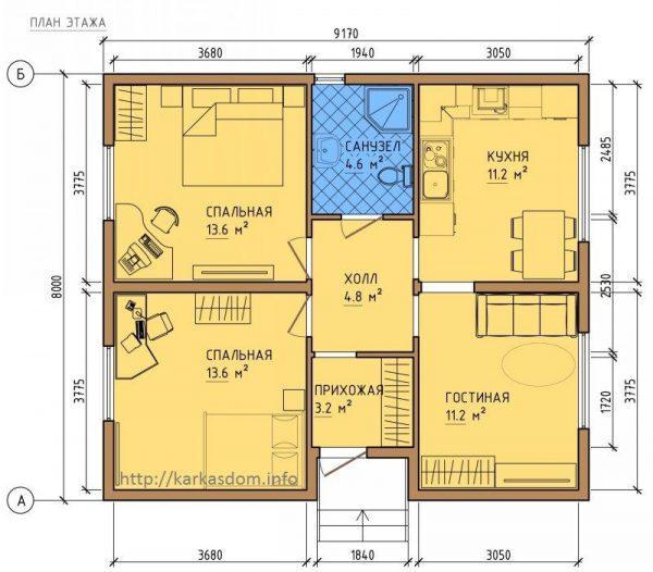 Каркасный дом 8х9 72кв.м
