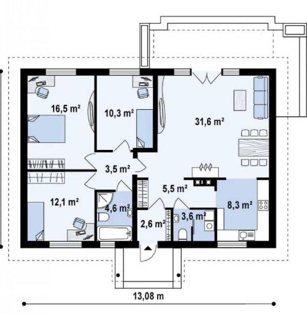 Каркасный дом 9х13