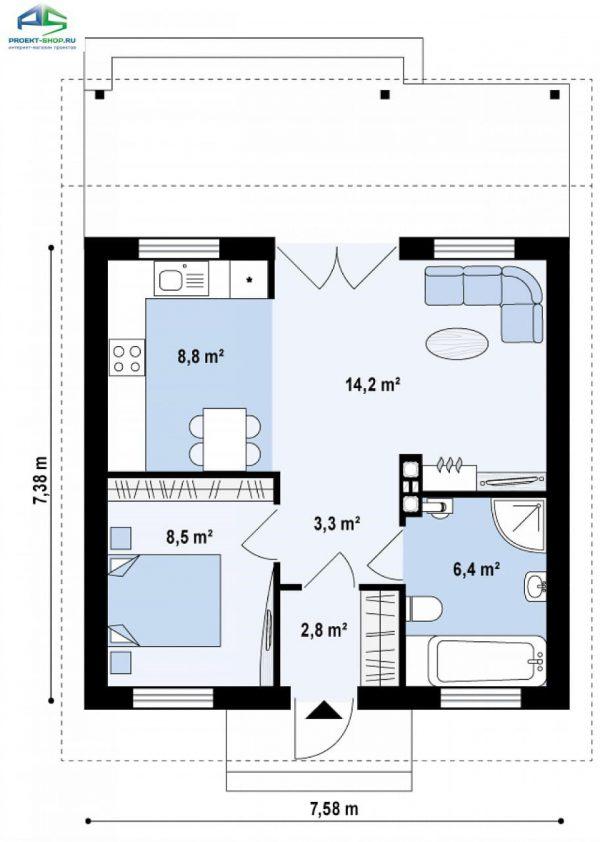 Каркасный дом 7х7