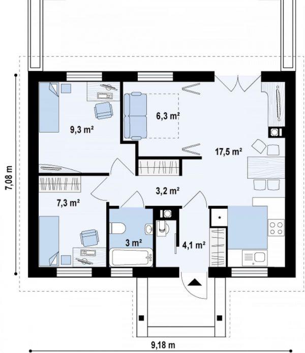 Каркасный дом 9х7