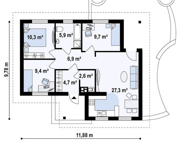 Каркасный дом 10х11