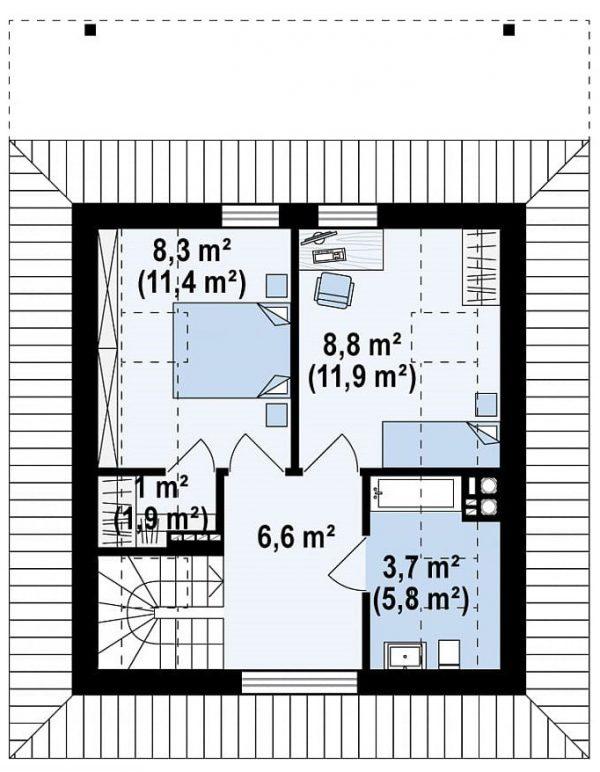 Каркасный дом 8х7
