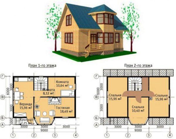 Каркасный дом 8х9 148кв.м