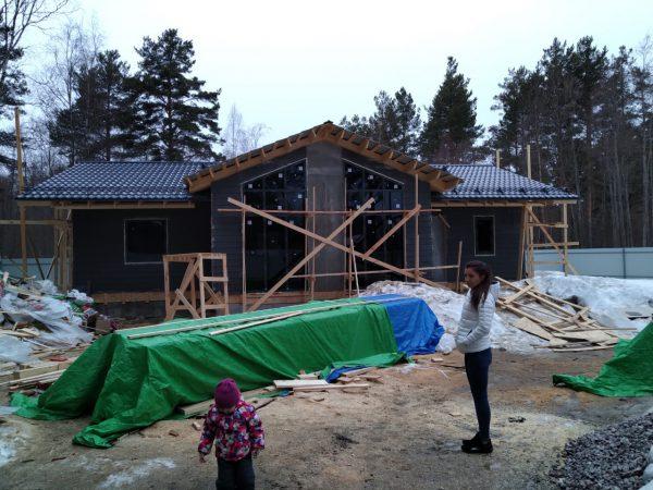 Каркасный  дом 9х14+терасса